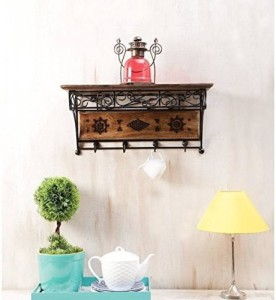 MartCrown Hotel iron decor rack shelf Wooden Wall Shelf