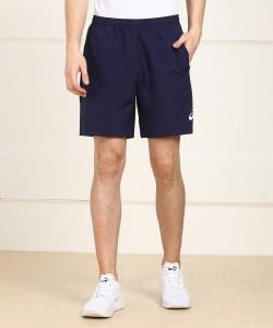 Asics Solid Men Blue Sports Shorts