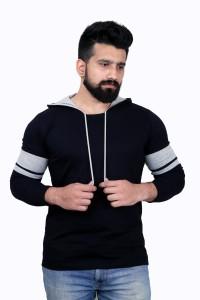 KAY S APPARELS Solid Men's Hooded Dark Blue T-Shirt