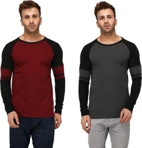 Helmont Solid Men's Round Neck Grey, Maroon T-Shirt
