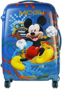 Disney Mickey Mouse Fun 22 Inch Printed Hard Sided Polycarbonate 4 Wheels Children's Luggage/Trolley Bag Expandable  Cabin Luggage - 22 inch