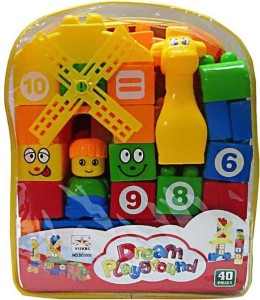 PS AAKRITI Learning Blocks for Kids with Cartoon Figures | 64 Pieces | Complete Gift Pack | Multi color (Multicolor)