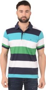 Confidence Broad Stripes Men Polo Neck Multicolor T-Shirt