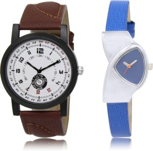 Zabby Allen Fresh Fashion Stylish LR_11_208 Dark Brown Round Dial & Blue Triangle Dial Couple Combo Watch  - For Men & Women