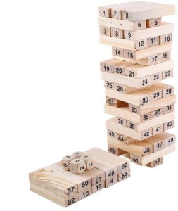 M-Alive 51 Wooden Building blocks with 3 Wooden dice Jenga Family Pack Learning Game for Kids