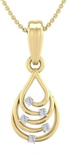 Perrian 0.08Ct Natural Brilliant Cut Diamond Studded Pendant For Women,   G-H Color, SI Clarity 18kt Yellow Gold Pendant