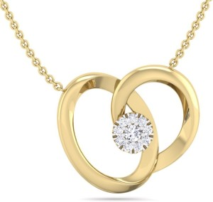 Perrian Single Diamond Prong Set Heart Pendant With chain, Necklace | G-H Color, SI Clarity 18kt Yellow Gold Pendant
