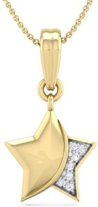 Perrian Fine Natural Round Brilliant Diamond Prong Set Star Pendant In | G-H Color, SI Clarity 18kt Yellow Gold Pendant