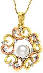 Rockrush Orbicular Swirl Diamond Pendant 18kt Pearl Yellow Gold Pendant