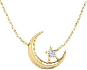 Perrian Moon And Star Prong Set Diamond Pendant Necklace With , Girl Gift | G-H Color, SI Clarity 18kt Yellow Gold Pendant