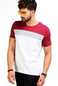 Aelo Color block Men Round Neck Multicolor T-Shirt