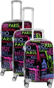 Maison & Cuisine 100% Polycarbonate,360 Â Rotating Wheels Beautiful Printed Pattern Suitcases & Trolley Bag Luggage Bag Size-20
