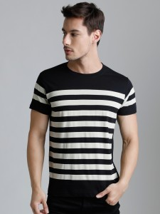 Dillinger Broad Stripes Men Round Neck Black, White T-Shirt