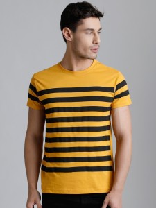 Dillinger Broad Stripes Men Round Neck Yellow T-Shirt
