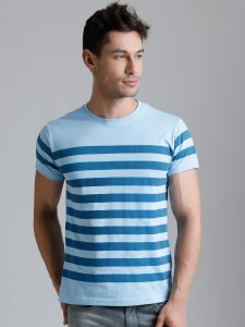 Dillinger Broad Stripes Men Round Neck Blue T-Shirt
