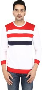 Cool N Comfort Broad Stripes Men Round Neck White T-Shirt