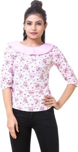 Skizo Casual 3/4th Sleeve Floral Print Women's White, Pink Top