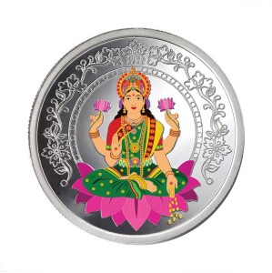 Taraash Taraash 999 Sterling Silver Colorful Lakshmi 20gm coin For Gifting CF11R2G20C With Packaging S 999 20 g Sterling Silver Coin
