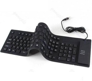 ROQ 109 Keys With Numeric Keys Silicone Rubber Waterproof Flexible Foldable Wired USB Laptop Wired USB Tablet Keyboard
