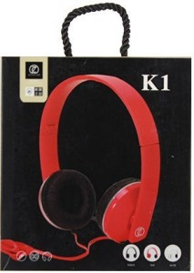 Tricoloursales K1 Wired Headset with Mic Red, Over the Ear