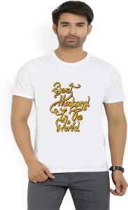 Misty Typography Men's Round Neck White T-Shirt