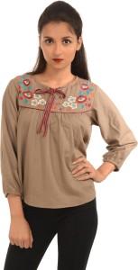 Harbinger Designs Formal 3/4th Sleeve Embroidered Women's Beige Top