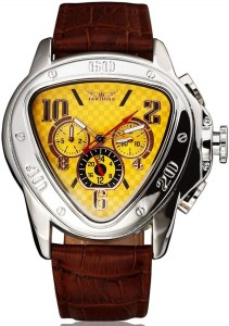 JARAGAR 6516 Jaragar Genuine Leather Triangle Dial Hand Wind Wristwatch Watch  - For Men