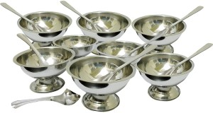 Sukot 8PCs Stainless Steel Ice Cream Bowl Cup + 8 PCs Steel Dessert Spoon Stainless Steel Bowl Set