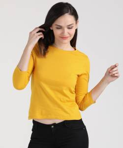 Ann Springs Solid Women's Round Neck Yellow T-Shirt