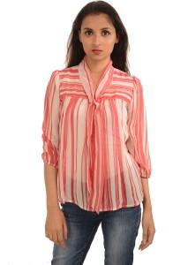 Harbinger Designs Formal 3/4th Sleeve Striped Women's Pink Top