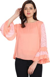 Wiser Casual Bell Sleeve Embroidered Women's Pink Top