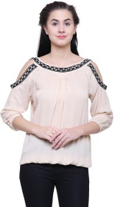 Fashion Village1 Casual Cold Shoulder Embroidered Women's Beige Top
