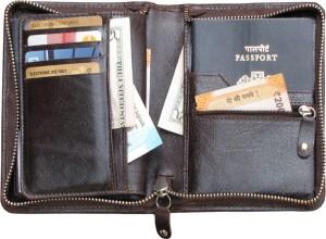 ABYS Genuine Leather Passport Holder||Travel Organizer||Card Holder with Metallic Zip Closure