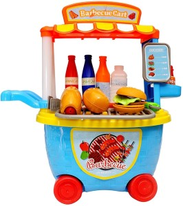 Sunshine Gifting Bucket Cum Barbeque Kitchen Set Play Cart Pretend