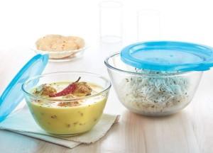 Borosil Mixing Bowl 500ML , 1300ML WITH BLUE LID 2-Pieces Borosilicate Glass Bowl Set