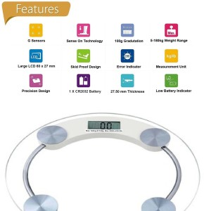 Granny Smith Personal Bathroom Digital Weight Machine 8mm Round Transparent Glass Weighing Scale
