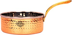 IndianArtVilla Steel Copper Hammer Sauce Pan with Brass Handle Width - 6