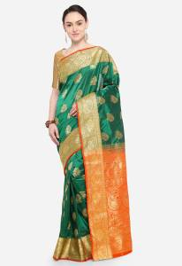 Ishin Self Design Bollywood Poly Silk Saree