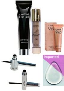 Imported silicon Puff,Lakme Absolute Blur Perfect Makeup Primer,Mousse Foundation & Mac Perp