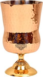 IndianArtVilla Steel Copper Hammered Glass with Brass Stand - 400 ML Glass