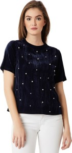 Miss Chase Party Half Sleeve Solid Women's Blue Top
