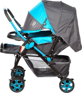 Meemee Advanced Baby Pram With Shock Absorber Wheels Blue Pram3 Blue