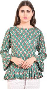 Myshka Casual 3/4th Sleeve Printed Women's Green Top