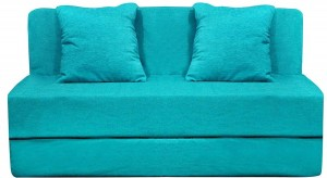 Style Crome Two Seater Sofa Cum Bed with Two Cushion- Perfect for Guests - Sky Blue Single Sofa Bed