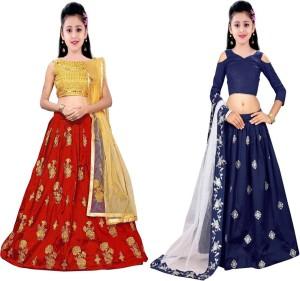 91a888bab MF Retail Girl's Lehenga Choli Ethnic Wear Embroidered Lehenga, Choli and  Dupatta Set