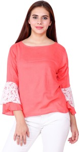 WISER Casual 3/4th Sleeve Embroidered Women's Pink Top