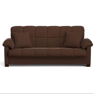Style Crome PU Leather Style Crome Fold Out 3 Seater Sofa/Bed (Brown) Single Sofa Bed