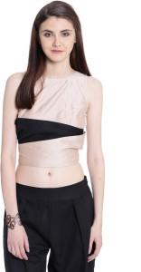 ARONITA TREND Casual Sleeveless Color Blocked Women's Beige, Black Top