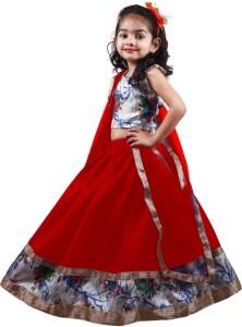 f86f285469 NAJARA FASHION Girl's Lehenga Choli Ethnic Wear Printed Lehenga, Choli and  Dupatta SetRed, Pack of 1