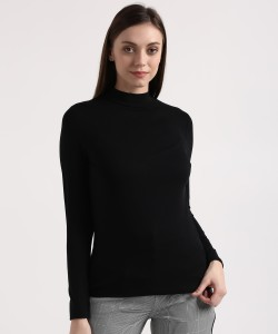 Marks & Spencer Casual Full Sleeve Solid Women's Black Top